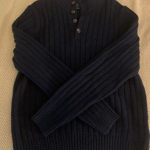 Brooks Brothers Men's Cable Knit Navy Blue Sweater